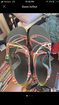 a092be9e5261 Chacos Womens Triple Strap Size 10 Yellow Pink Gray  fashion  clothing   shoes