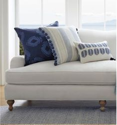 A washed cotton base makes the pillow even cozier and relaxes the stripes for a laid-back, coastal look. Pillow Inserts, Pillow Covers, Lumbar Pillow, Throw Pillows, Florida Style, Chair Fabric, Striped Fabrics, Botanical Prints, Granada