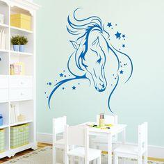 Stunning Wandtattoo Wandaufkleber Pferd Prinzessin Sterne