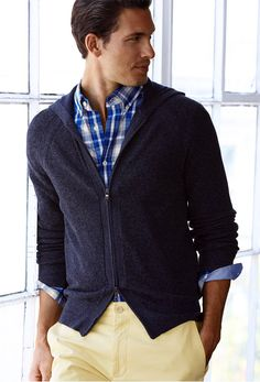 Yellow jeans, plaid shirt and 2 way zip cardigan.  Banana Republic. Summer 2013  #men #fashion