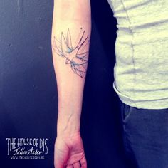 Tattoo Aster@The House Of Dis #finelinetattoo #swallowtattoo #birdtattoo #swallowtattoodesign