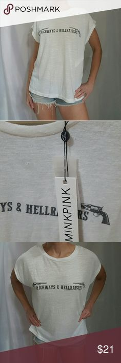 """NWT MINKPINK  T-shirt S """"Highways & Hellraisers"""" New with tags! Comfy, roomy fit. Very soft. Cotton/poly/viscose blend.  For reference, I'm 5'5 and normally wear a S/2/4. MINKPINK Tops Tees - Short Sleeve"""