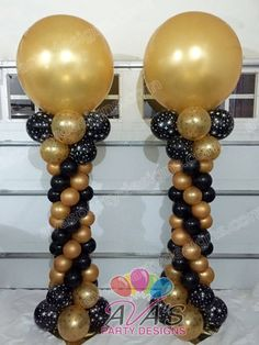 Gold and black balloon columns with 3ft balloon topper #partywithballoons