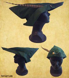 Medieval Woodsman Robin Hood style hat 2 by tursiart.deviantart.com on @deviantART