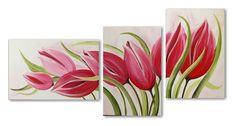 Een supermooi drieluik schilderij met een afbeelding van onze eigen oer Hollandse tulpen