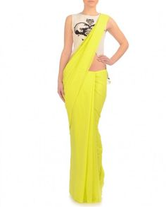 Chartreuse Sari with Ottoman Printed Blouse- Buy Payal Singhal - Lakme '14 Online | Exclusively.in