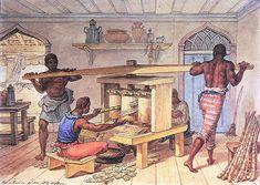 Engenho Manual que Faz Caldo de Cana , 1822  aquarela sobre papel, c.i.e.  17,6 x 24,5 cm  Museus Castro Maya - IPHAN/MinC (Rio de Janeiro, RJ)
