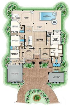 Open Floor Plans For Single Story Spanish Style Homes 4386 Sq Ft With 4 Bedrooms 4 Baths Breathtaking Single Story House Open Floor Plans single story log home. single story house. one story house.