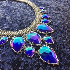 Kendra Scott Gretchen Necklace Stunning statement necklace with blue cat's eye stones set in gold tone Kendra Scott Jewelry Necklaces