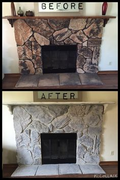 Update your outdated fireplace.  It's so easy to do with only $20.  Love Chalk paint!  I also painted the mantle with chalk paint then distressed it and sealed it with a finishing wax.  Very easy.  I followed this step by step blog.   http://erin-artandgardens.blogspot.com/2013/02/painted-stone-fireplace-before-and-after.html?m=1