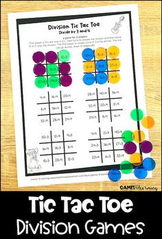 Tic Tac Toe Math Games - these tic tac toe division games combine the fun of tic tac toe with division facts practice. Teaching Division, Division Games, Multiplication Facts, Math Facts, Addition Facts, Tic Tac Toe Game, Basic Math, Colour Board, Math Centers