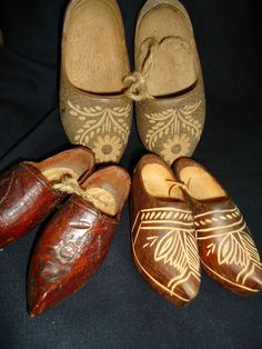 ANTIQUE WOODEN SHOES - BELGIUM - HEAVY CARVING