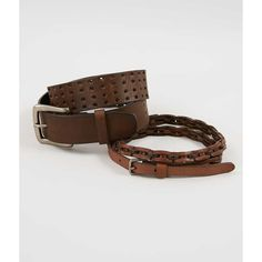 BKE Two Pack Leather Belts - Brown Large ($30) ❤ liked on Polyvore featuring accessories, belts, brown, brown belt, perforated belts, leather belt, genuine leather belt and brown leather belt