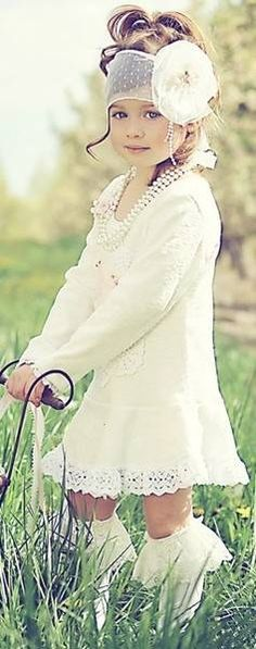 Gorgeous White Little Girls Dress & Lace Socks. Love the Pearls & Hair Accessory too!