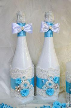 """Свадебные аксессуары ручной работы. Ярмарка Мастеров - ручная работа. Купить Свадебное шампанское """"Мечты"""". Handmade. Голубой, свадебные бутылки"""