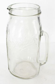 Ball Canning Jar Pitcher Wide Mouth Glass Mason 2 Quart Pouring Spout Clear Vtg