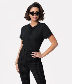 96a7d9960b4 Black Chiffon Ruffle Collar Ingrid Button Up Blouse – Unique Vintage  Chiffon Ruffle