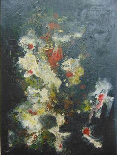 A. BANDEIRA, óleo sobre tela. Representando Abstrato. Medindo 71 x 48 cm. Datado, 1969. Assin