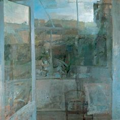 "alongtimealone: ""Frederick Cuming, ""Verandah Evening"", Oil on hardboard, 123 x 123 cm, Canterbury City Council Museums and Galleries "" Urban Landscape, Abstract Landscape, Landscape Paintings, Abstract Art, Landscapes, Window Art, Art Uk, Your Paintings, Contemporary Paintings"