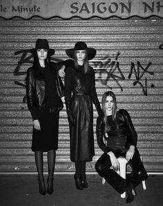 Leather ladies, Josephine Le Tutour, Emeline Ghesguiere and Maja Milosavljevic for M Le Monde