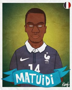 Fifa World Cup 2014 teams caricatures - France team - Blaise MATUIDI - http://keuj.net