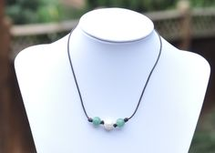 Pearl and Leather Choker/Pearl and Green Stone Necklace/Aventurine Jewelry/Leather Choker Necklace/Green Gemstone JewelryAventurine/Pearl by BonafideBeads on Etsy