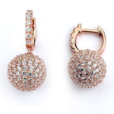 Italian sterling silver ball drop earrings with the highest quality cubic zirconium in a micro pave setting. - Earrings have a lock post - 10mm ball, and 1/2 inch drop - .925 Sterling Silver Choose be