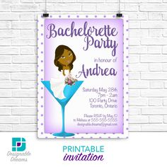 Martini Bachelorette Invitations