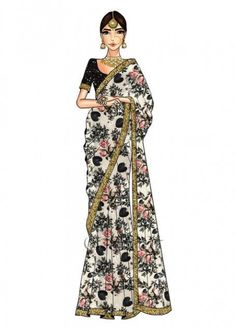 Buy Cream Digital Printed Saree N Black Blouse online SKU Code: This Black color Party sari for Women comes with Sequins Net. Fashion Drawing Dresses, Fashion Illustration Dresses, Fashion Dresses, Fashion Illustrations, Drawing Fashion, Ethnic Fashion, Indian Fashion, Fashion Art, Fashion Ideas
