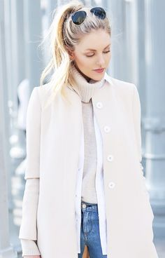 Layers flawlessly formed with a collarless coat, button-down shirt, and turtleneck. // #StreetStyle