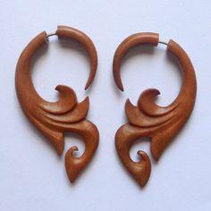 Fake Gauge Earrings  Sabo Wood Naturally Organic Tribal by Bumade