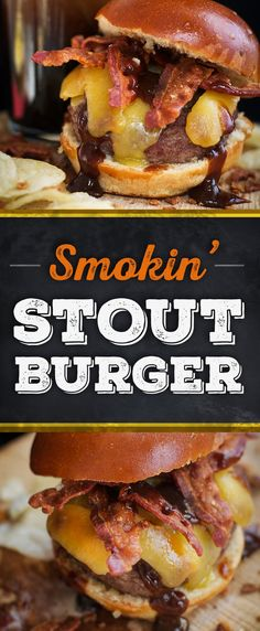 The Smokin' Stout Burger is topped with BBQ Sauce, Crispy Bacon and Old Croc's Smoked Cheddar... and don't forget the beer! Get the full-flavored recipe for your next burger night.