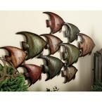 26 in. x 18 in. Coastal-Inspired School of Angel Fish Wall Decor in Multi Colors