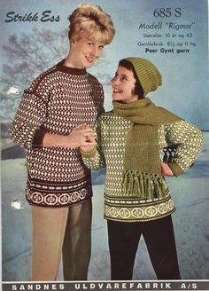 Rigmor 685S Norwegian Knitting, Fair Isle Knitting, Color Combinations, Ravelry, Knitting Patterns, Retro, Sweaters, Jumpers, Norway