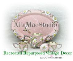 Miniature Tea Set in Pink OOAK Shabby Chic by AltaMacStudio