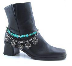 Boot Jewelry Silver Chain With Turquoise & Hearts Double Strand Strap Western  #Western