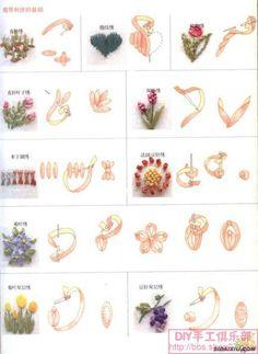 丝带绣教程 - broderie fleurs
