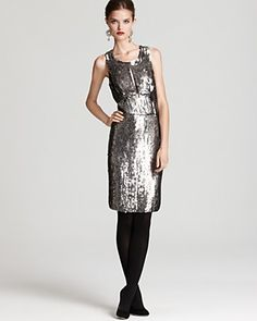 Milly Charlotte Sequin Keyhole Dress