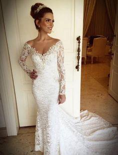 New white/ivory v-neck long-sleeve lace mermaid wedding dress custom size   Clothing, Shoes & Accessories, Wedding & Formal Occasion, Wedding Dresses   eBay!