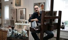 Jonathan Yeo in his studio, which used to belong to the sculptor Eduardo Paolozzi. Photograph: Martin Godwin for the Guardian