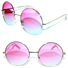 d59508654 Details about Classic Vintage Retro Two Tone Blue & Pink Lens Womens Heart Shaped  Sunglasses