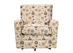All rooms need that one special conversation piece, and your guests will love talking about this Holland swivel accent chair. Its multicolored circle pattern is such an attention grabber! Plus, it's clean-lined and modern with its sleek track arms and attractive piping.