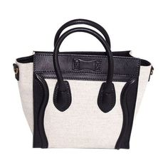 Pre-Owned Celine Bicolor Leather Tweed Nano Luggage Tote ($1,931) ❤ liked on Polyvore featuring bags, handbags, tote bags, multi, leather tote handbags, celine handbags, leather handbags, celine tote and genuine leather tote