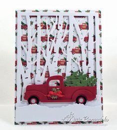 Christmas in July Christmas Tree Truck – Christmas DIY Holiday Cards Cricut Christmas Cards, Homemade Christmas Cards, Cricut Cards, Christmas Cards To Make, Christmas Greeting Cards, Christmas Greetings, Greeting Cards Handmade, Homemade Cards, Holiday Cards