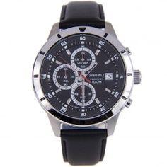 Seiko Chronograph Quartz Mens Leather Strap Casuall Watch SKS571 SKS571P1