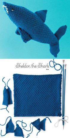 Knitting Pattern for Shark Toy Knit From a Square - Sheldon the Shark is constructed from a stockinette square and seamed into a shark toy shape. The fins are knit separately and sewn on. Sheldon can be knit to different sizes by using different yarn weights and gauges. One of the 25 animal patterns in Nicky Epstein's Knit a Square, Create a Cuddly Creature: From Flat to Fabulous – A Step-by-Step Guide.