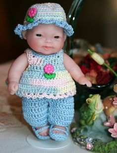 Crocheted outfit for Berenguer 5 inch baby doll Pants set Pastel Blue Pink Flower