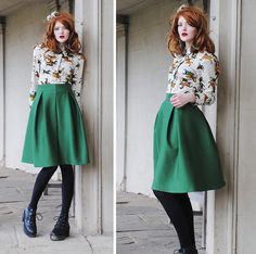 Cosette Munch - Green Midi Skirt, Horse/Polka Dot Blouse, Found On A Graveyard Floral Wreath - Isadore