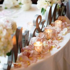 sweetheart table, reception decor, wedding signs