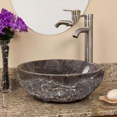 Round Chiseled Marble Vessel Sink - Dark Emperador Marble